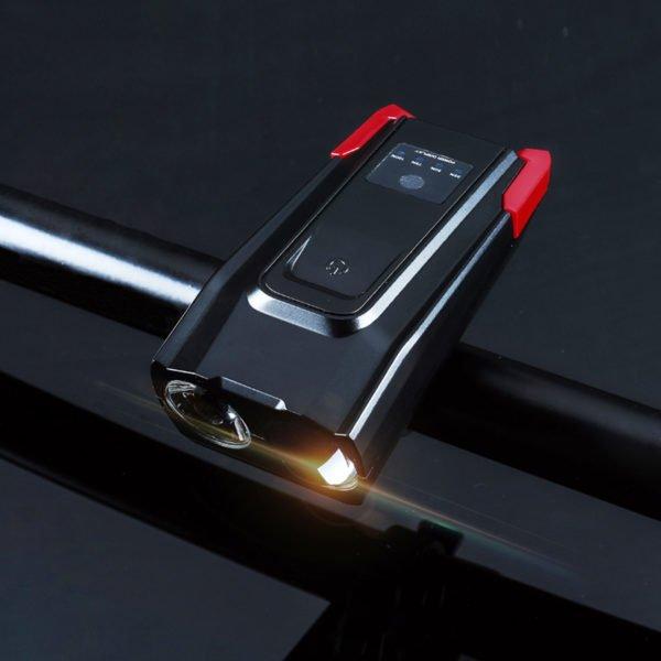 Мощен USB фар за велосипед с клаксон